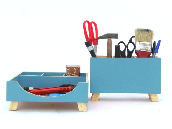 Desktop organizer desk organizer turquoise desktop set - Desk organizer sets ...