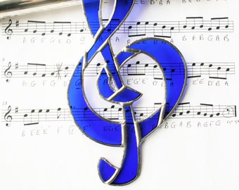 Stained Glass Music Note Suncatcher, Treble Clef Musical Gift, Music Teacher Gift