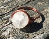 size 7.25 , 7 1/4 - white Crystal Quartz gemstone , antique copper wire wrapped ring - 10mm stone jewelry men women unisex handmade