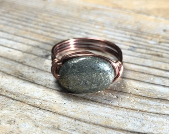size 9 - bohemian Pyrite stone antique copper wire wrapped ring - gemstone jewelry women men unisex black grey metallic
