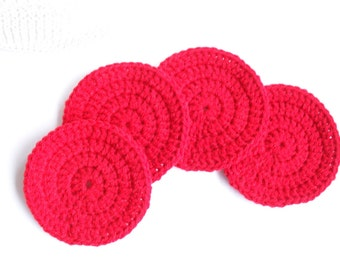 Four Crochet Coasters Red