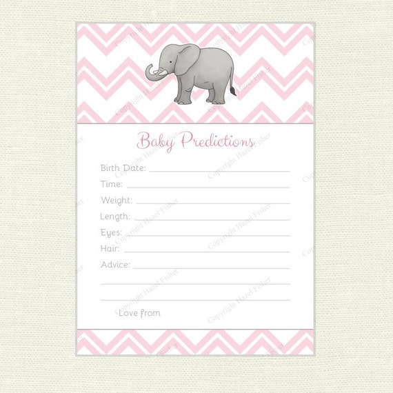 elephant baby prediction card printable baby shower game, pink, Baby shower invitations
