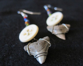 Vintage Button and Shark's Tooth Earrings