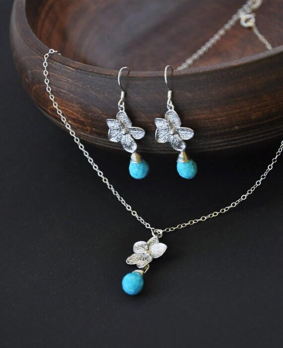 Silver Plumeria Jewelry Set with Turquoise Gemstones - Plumeria Necklace and Plumeria Earrings, Hawaii Jewelry, Hawaii Wedding