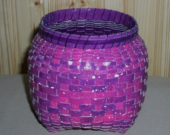 SALE! Cathead Basket Made with Hand Painted Watercolor Paper - Dark Pink/Purple, Hand Woven Basket