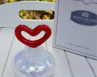 Crystal Perfume Bottle - Red Heart Stopper - Opalescent Bottle - Oak Hill Vintage