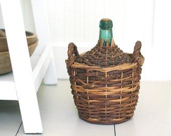 VINTAGE Wicker Demijohn Bottle - Wicker Covered Glass Wine Bottle with Handles