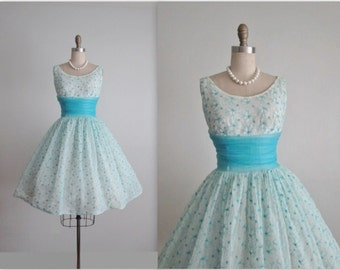 50's Chiffon Dress // Vintage 1950's Embroidered Floral Chiffon Prom Wedding Party Dress M