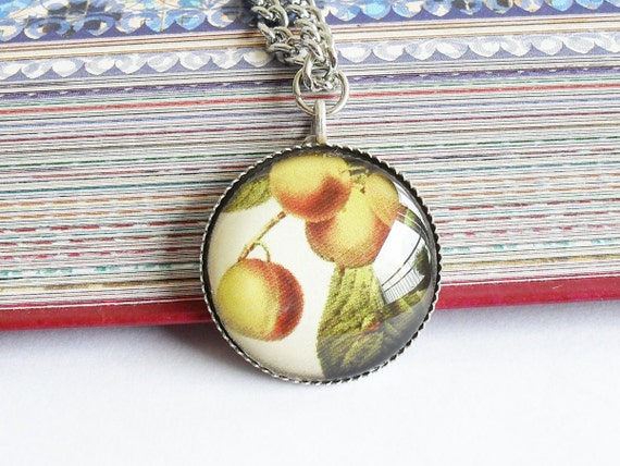 Vintage yellow Apples Necklace, Glass Art Pendant, Photo Pendant, Fruit pendant, Vintage fruit pendant, white pendant, vintage food necklace
