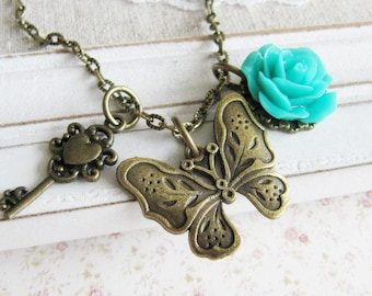 Butterfly necklace, charm necklace, turquoise flower necklace, bronze vintage style jewelry, for her, Europe