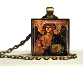 Archangel Michael Greek Orthodox Icon Glass Tile Pendant Necklaces Warrior Angel Jewelry
