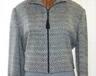 Hand Woven Silk Tweed Emil Rutenberg Bolero Jacket B&W Medium New Old Vintage Stock