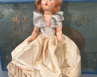 Vintage DREAM WORLD Composition Doll, Original Clothes, Side Glancing Eyes, Mohair Wig, Fully Jointed