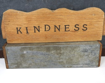 KINDNESS Wooden Sign, Wall Hanging, Vintage Rustic Decor, Country Home Chair Back Signage