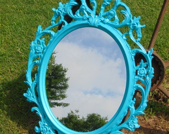 Ornate Mirror, Oval Wall Mirror, Nursery Mirror, Size 33 1/2 x 23 1/2 ,Shown In Aqua, with white accent or Choose Color