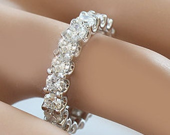 18k white gold round cut forever one moissanite eternity band anniversary prong set 4.00ctw