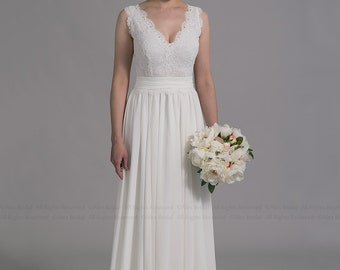 Ivory lace wedding dress, sleevelss V-back alencon lace with chiffon skirt.
