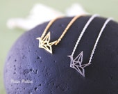 Paper Crane Origami Necklace in Silver. Collarbone Necklace. Layering Necklace. Bridemaids Gift. Gift For Her (PNL-41S)