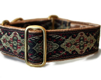 Holiday Elegance Jacquard Martingale Collar - 1.5 Inch