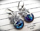 Blue Crystal Victorian Earrings, Bermuda Blue Jewel Earrings, Victorian Jewelry, Gothic Jewelry