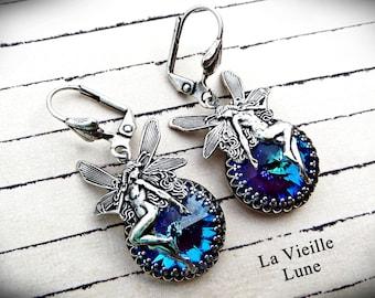 Blue Crystal Art Nouveau Earrings, Purple Jewel Earrings, Fairy Victorian Earrings, Gothic Victorian Jewelry