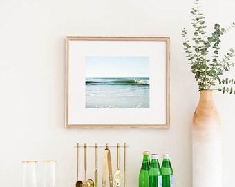 Framed Beach Art, Framed Wall Art, Large Wall Art, Simple Wave, Ocean Decor, Nautical, Surf Decor, Wooden Frame, Framed Photograph