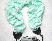 Scarf Style Ruffled Camera Strap, DSLR Camera Strap, Extra Long, Nikon, Canon, DSLR Photography, Photographer Gift - Ruffled Mint Aqua