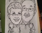 Black & White Caricature of a Couple