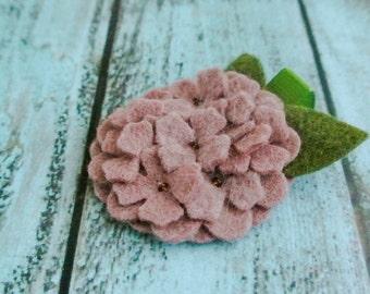 Mauve Hydrangea Felt Headband or Felt Hair Clip Felt Flower Headband, newborn headband, baby headband, girl headband.