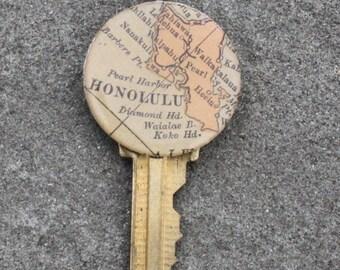 Vintage Key Pendant with Vintage Map from Honolulu
