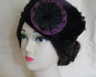 Civil War/Victorian Hat/Toque. 1860's Dickens. Purple straw and Black Velvet. Half Mourning