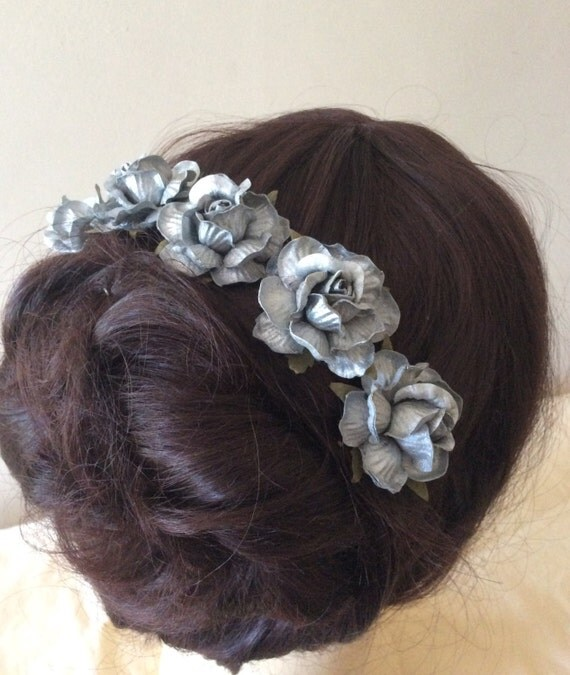 Hairpins x 5 Silver Paper Roses. Bridal, Regency, Victorian.