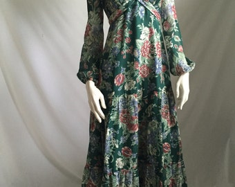 70's Gypsy Hippie Green Floral Maxi