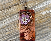 Hand Engraved Mehndi & Vintage Enamel Flower Findings combine with Heat Patinaed Copper into Ink'd Efflorescence - ReaganJuel
