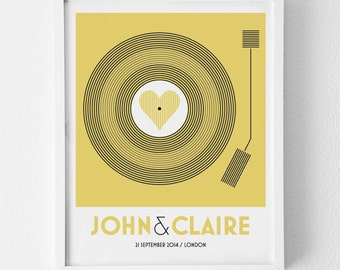 Personalized Art Print / 'Vinyl Record' Retro Print Only / Custom Family Couple Art / Wedding Sign and Decor, Anniversary Gift / SMALL SIZE