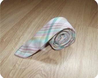 "Vintage 60s Necktie | 1960s Mens Tie | Super Skinny | Rainbow Plaid | 1 1/2"" Wide 54"" Long"