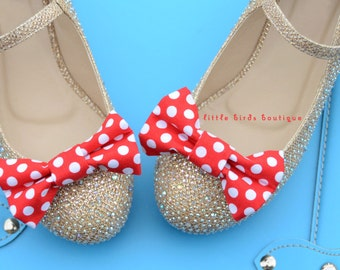 READY to SHIP! 1 Pair Red Polka Dot Fabric Bow Shoe Clips - Girls Wedding Accessories, Bride, Bridesmaid, Wedding Shoes, Birthday Party