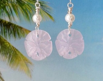 Pink sand dollar white pearl seaglass beads earrings silver wire wrapped tumbled tumbled glass earrings coastal jewelry beach glass earrings
