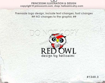 1348-3, clipart or premade logo, Red owl logo, little owl , owl design, kids business, boutique logo, whimsical owl