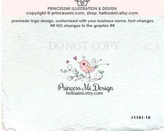 1161-16 pink bird logo, bird logo, premade logo design,  little bird illustration, photography logo, business logo by princessmi
