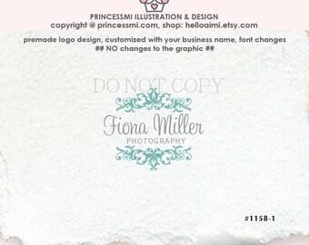 1158-1 Custom logo Premade Damask Logo Design  Scrolls logo photography logo shop logo business watermark