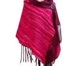 VALENTINE'S DAY GIFT - Ruby Silk Shawl Red Silk Scarf Merlot Wool Scarf Luxury Wool Red Shawl