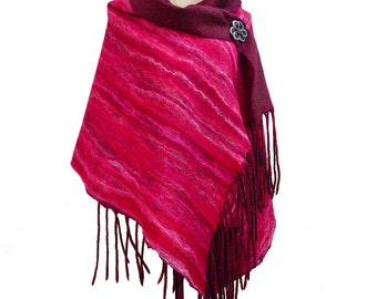 Red Wool Shawl Red Silk Scarf Merlot Wool Scarf Luxury Wool