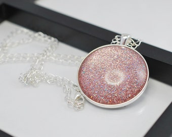 Light Pink Necklace, Pink Necklace, Pink Glitter Necklace, Long Necklace, Nail Polish Pendant, Nail Polish Jewelry, Free Shipping