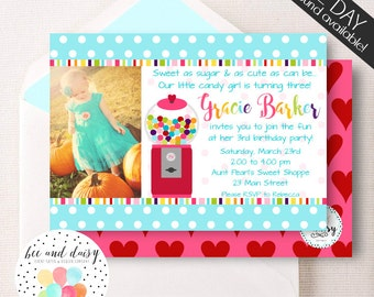 Gumball Invitation, Gumball Birthday Invitation, Gumball Party, Girl First Birthday, Girl Birthday, Gumball Invite, Candy Invite,