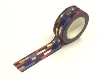 Warm Stripes Gold Foil Washi Tape Roll 15mm x 10meters WT915