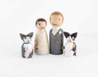 Custom Peg dolls with 2 cats - bride and groom with cats - wedding cake topper with cats - cat cake topper - cat wedding cake topper