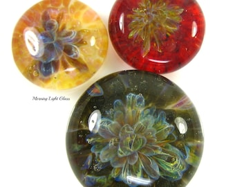 3 Jewel Tone Cabochons  Boro Lampwork Glass Frit Implosions - Jewelry Making Beads, 25mm, 18mm