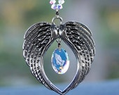 Suncatcher m/w Swarovski Crystal, Angel Wings + Retired AB Prayer Hands Pendant Car Charm Ornament Easy To Hang, Pearl Place N More
