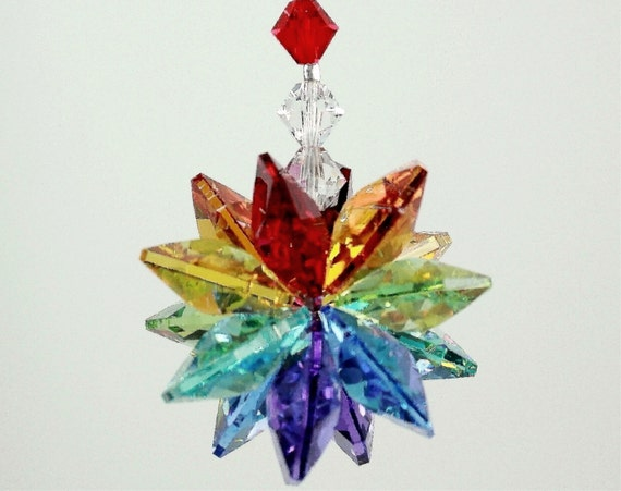 m/w Swarovski® crystal, Chakra Starburst Star & Chakra Beaded Strand Suncatcher Car Charm Home Ornament, Pearl Place N More